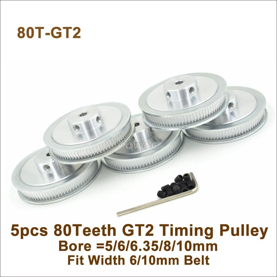POWGE 5pcs 80 Teeth 2GT Timing Pulley Bore 5/6/6.35/8/10mm Fit W=6/10mm GT2 Timing Belt 3D Printer 80Teeth 80T GT2 Timing Pulley
