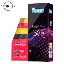 Hommes sexe érotique mâle Contraception préservatif MingLiu 30 pcs/paquet 5 Types Sexy Latex points plaisir naturel en caoutchouc préservatif