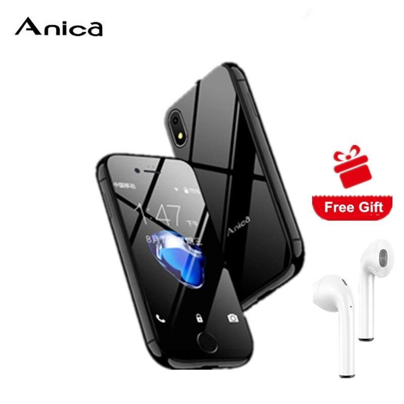 "Anica I8 Smartphone MTK6580M Quad Core 2GB RAM 16GB ROM 3G 2,54 ""GPS WiFi Android 6,0 Super Mini ultra delgado tarjeta de teléfono celular de lujo"