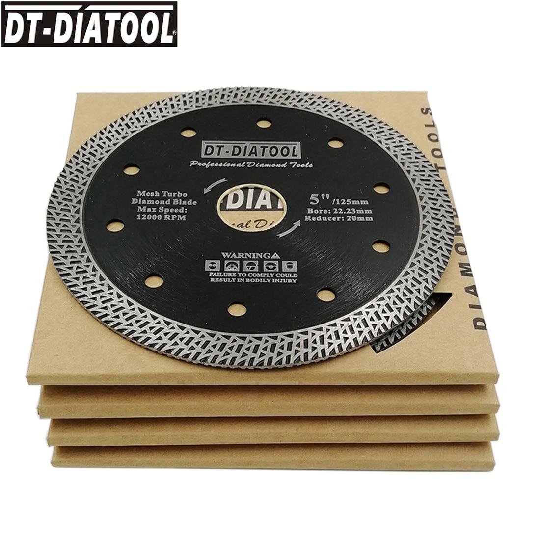 DT-DIATOOL 5pcs/set Mesh Turbo Diamond  Cutting Disc Saw Blade Wheel for Granite Marble Tile Brick Dia 4/4.5/5