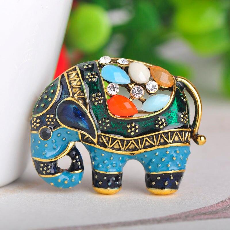 Broche con forma de elefante de Tailandia Blucome, broches de resina esmaltados coloridos, broches para mujer, bufanda para niños, accesorios de sombrero, joyería