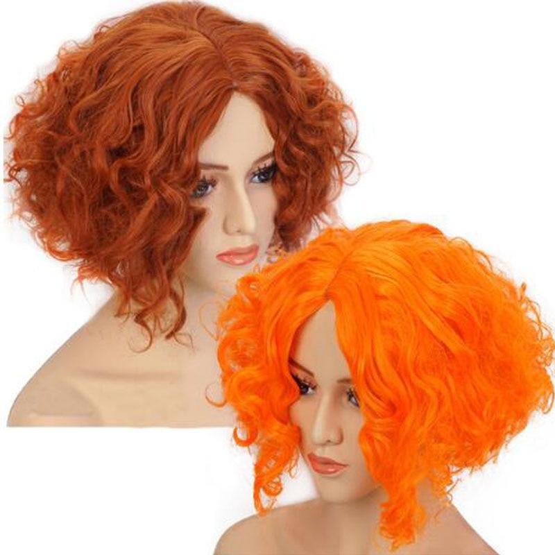 Alice in Wonderland Mad Hatter Tarrant Hightopp Orange Brown Wig Short Curly Cosplay Costume Wigs + Wig Cap