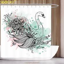 Rideau de douche Unique motif Animal oiseau cygne   Croquis à la main, détails floraux et éclaboussures de couleur, aquarelles, vert menthe, rose clair, noir