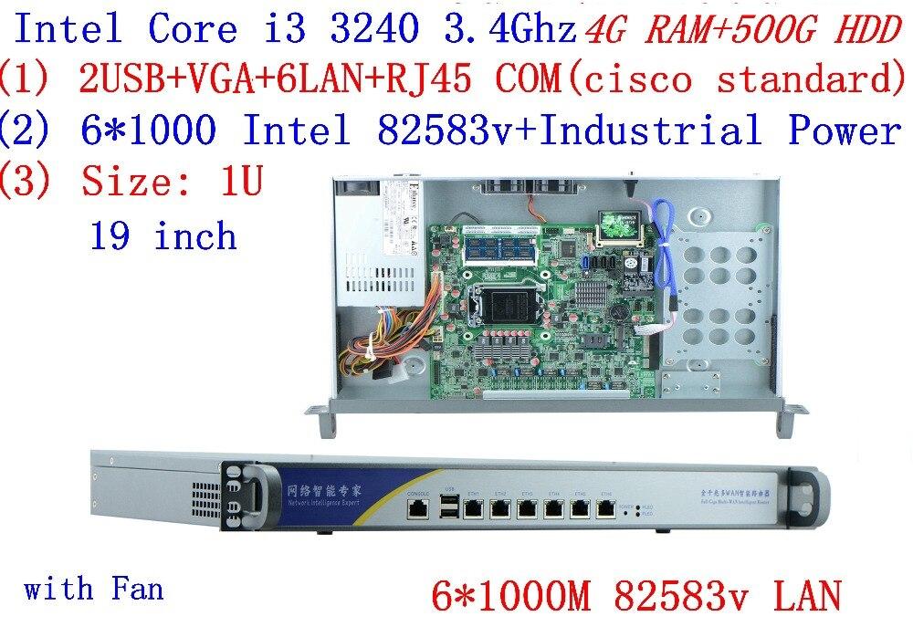 Broadband VPN Router 1U Firewall Server with 6*Gigabit lan Intel Core I3 3240 3.4G 4G RAM 500G HDD Mikrotik PFSense ROS etc