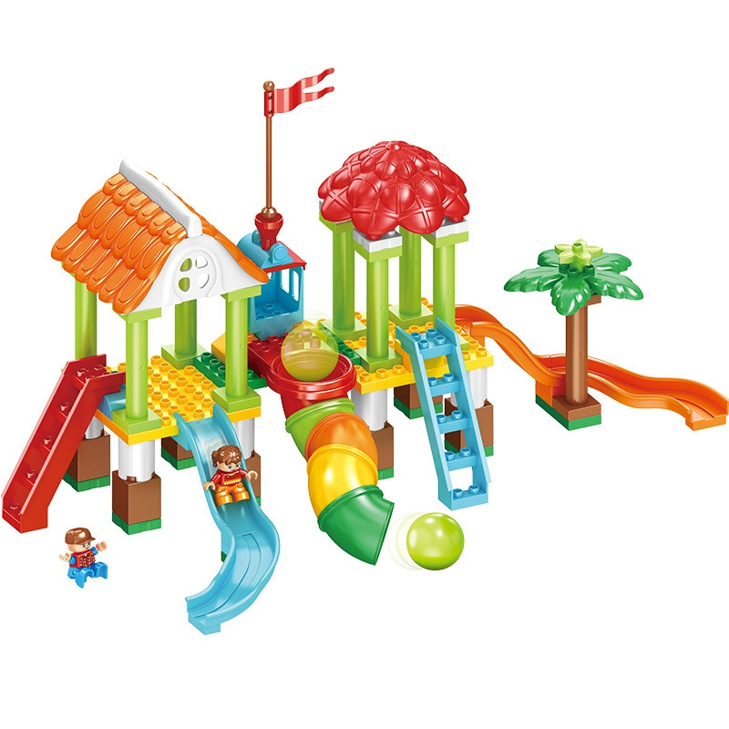 クリエイティブ遊び場組み立てビルディングブロックのおもちゃパイプトラックスライド大型粒子ビルディングブロック互換 duploinglys