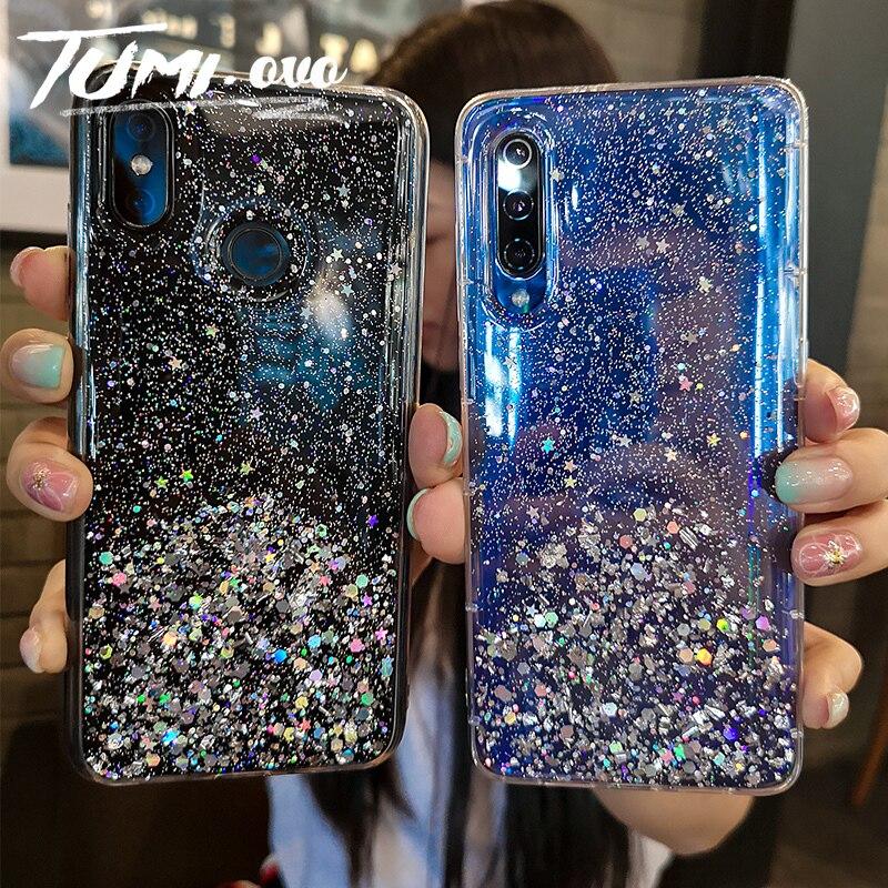 Silber Folie Stern Bling Glitter Zurück Telefon Abdeckung Für Xiao mi mi 6 6X A2 8 SE 8 Lite 9 8 rot mi K20 Pro Explorer Weiche TPU Telefon Fall