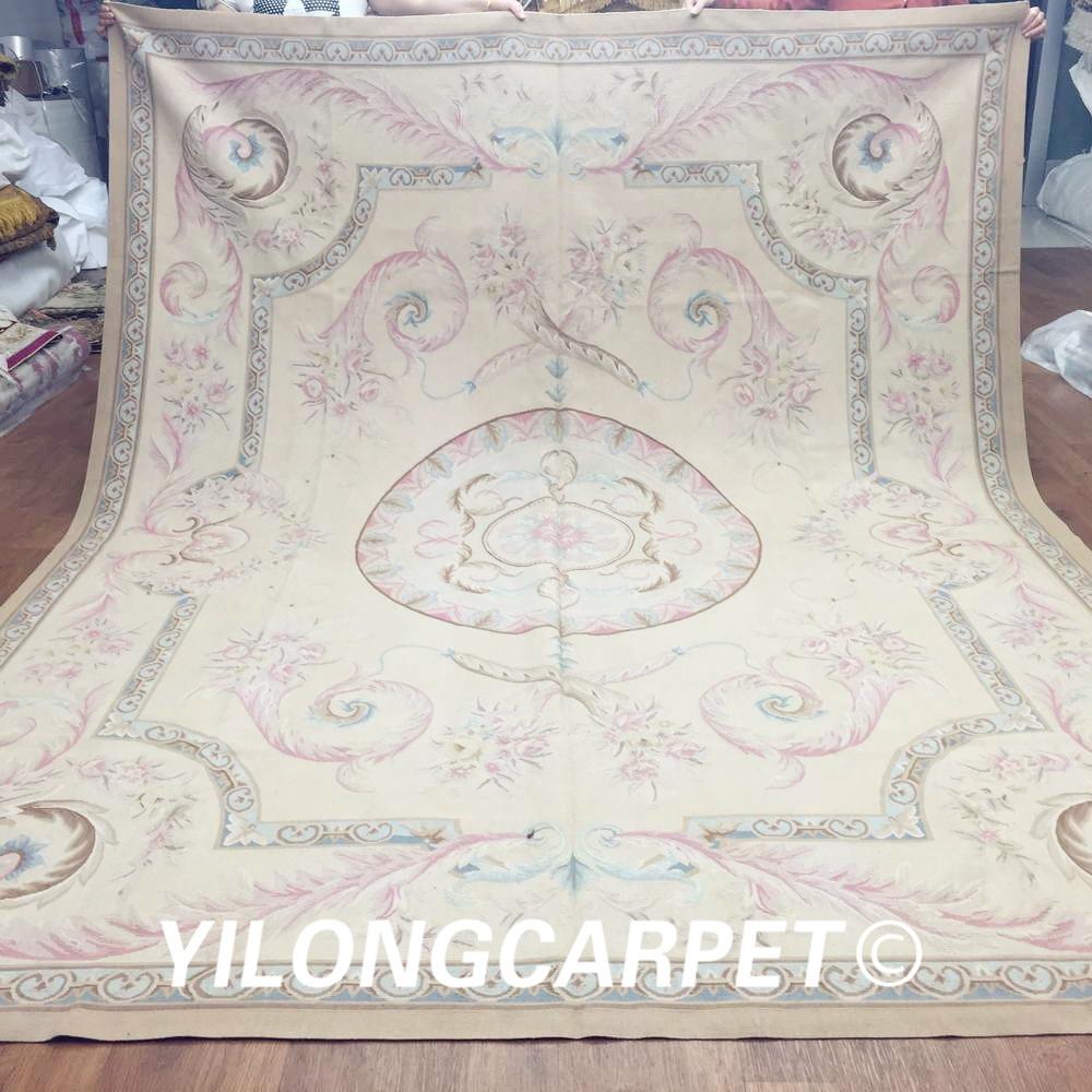Alfombra de Aubusson hecha a mano de lana de Nueva Zelanda de diseño francés de alta calidad Yilong 8 x 10 (Au15-8x10)