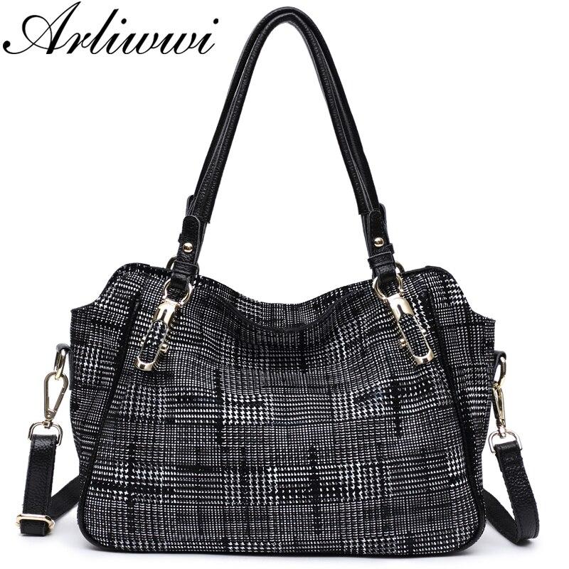 Arliwwi العلامة التجارية الجديدة موضة لينة حقيقية جلد طبيعي منقوشة مصمم المرأة حقيبة يد سيدة شعرية حقيبة كتف حقيبة ساعي GL14