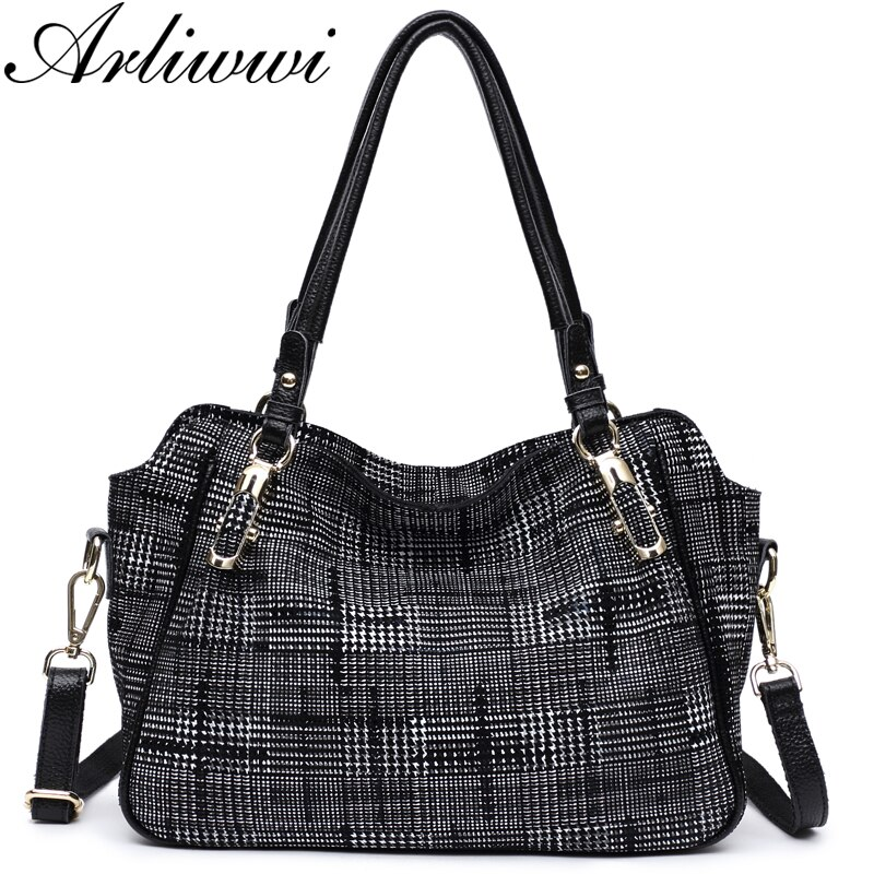 Arliwwi брендовая Новая модная мягкая натуральная кожа, дизайнерская женская сумка в клетку, женская сумка через плечо в клетку, сумка-мессендж...