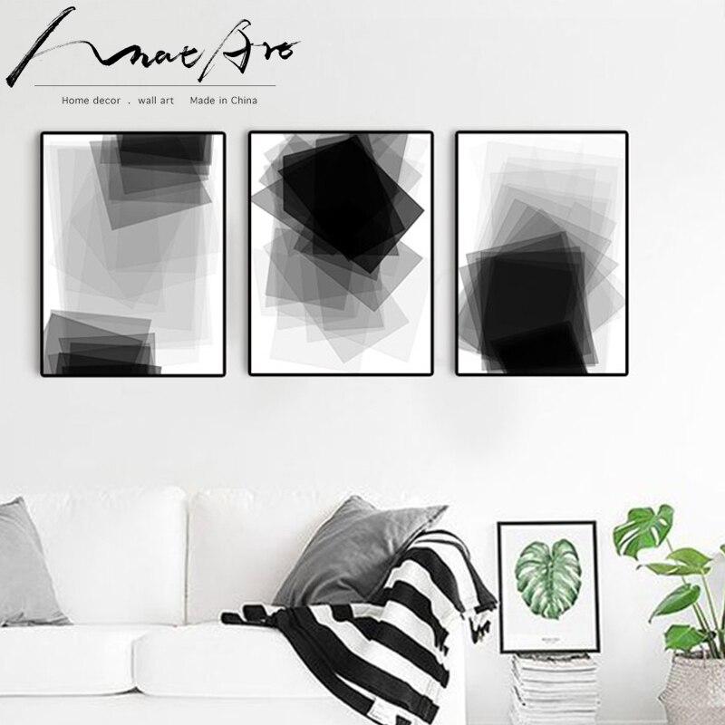 Póster nórdico moderno en lienzo abstracto en blanco y negro imágenes de 4 piezas para sala de estar cuadros modernos duvar tablolar
