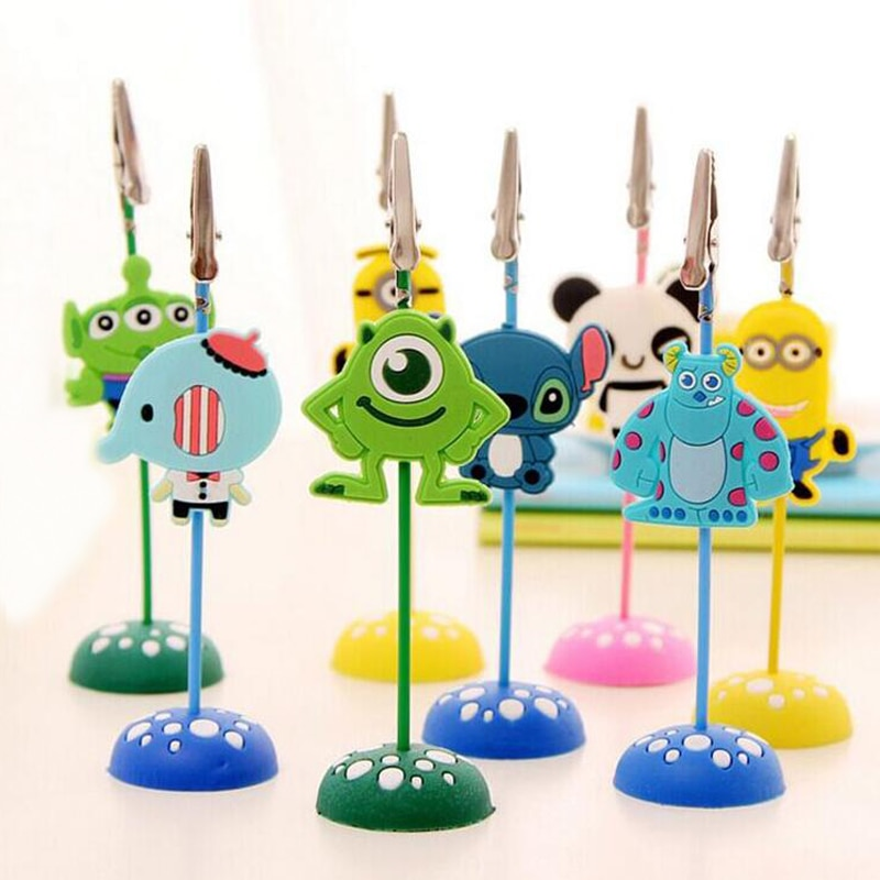 color cube stand alligator wire desk card note picture memo photo clip holder table wedding party place favor personalized gift 6 Pcs Cute Cartoon Stand Desk Card Note Picture Memo Photo Clip Holder Table Pendant  Wedding Party Kid Gift Prize Photo Holder