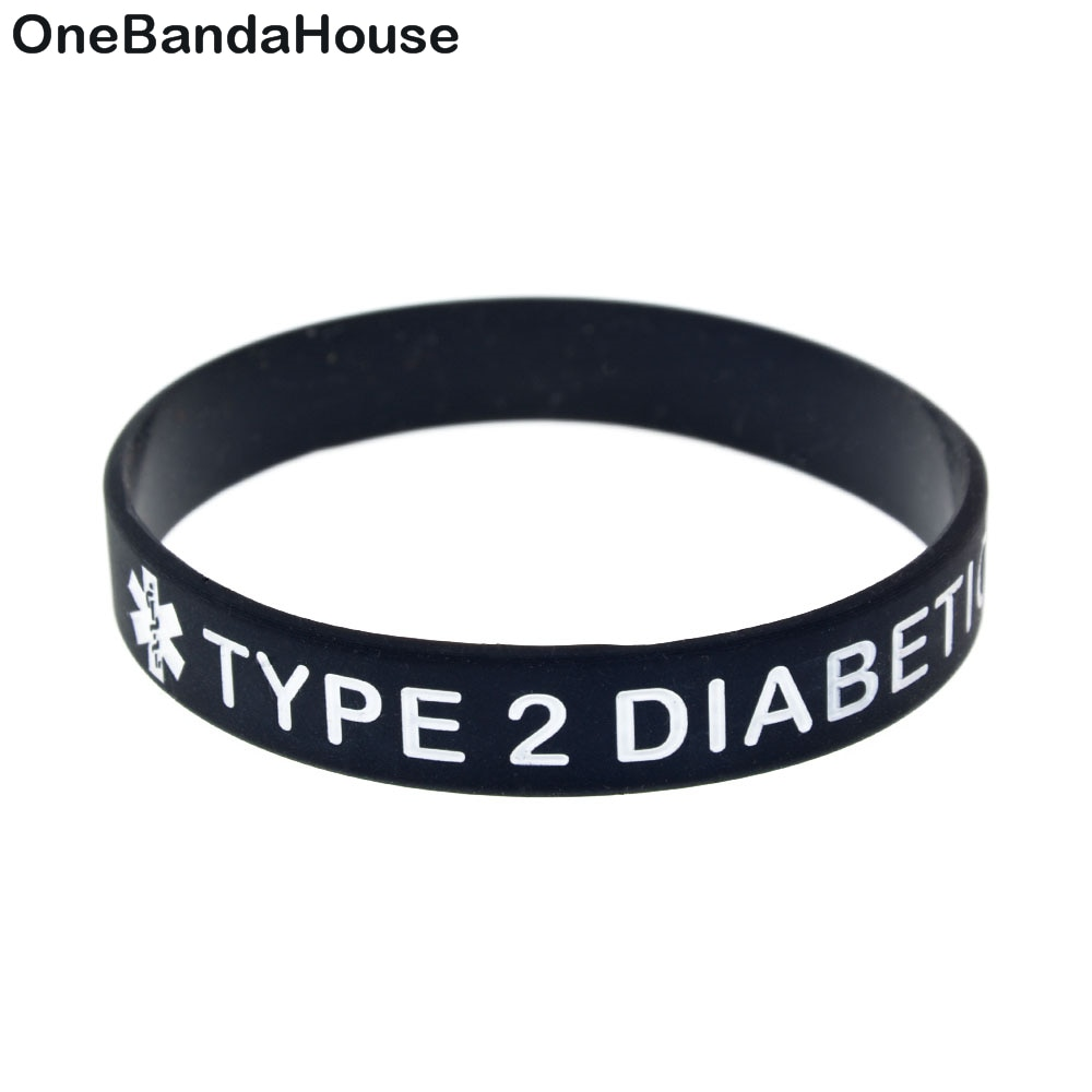 1PC Type 2 Diabetic Capital Letter Silicone Wristband for Daily Reminder