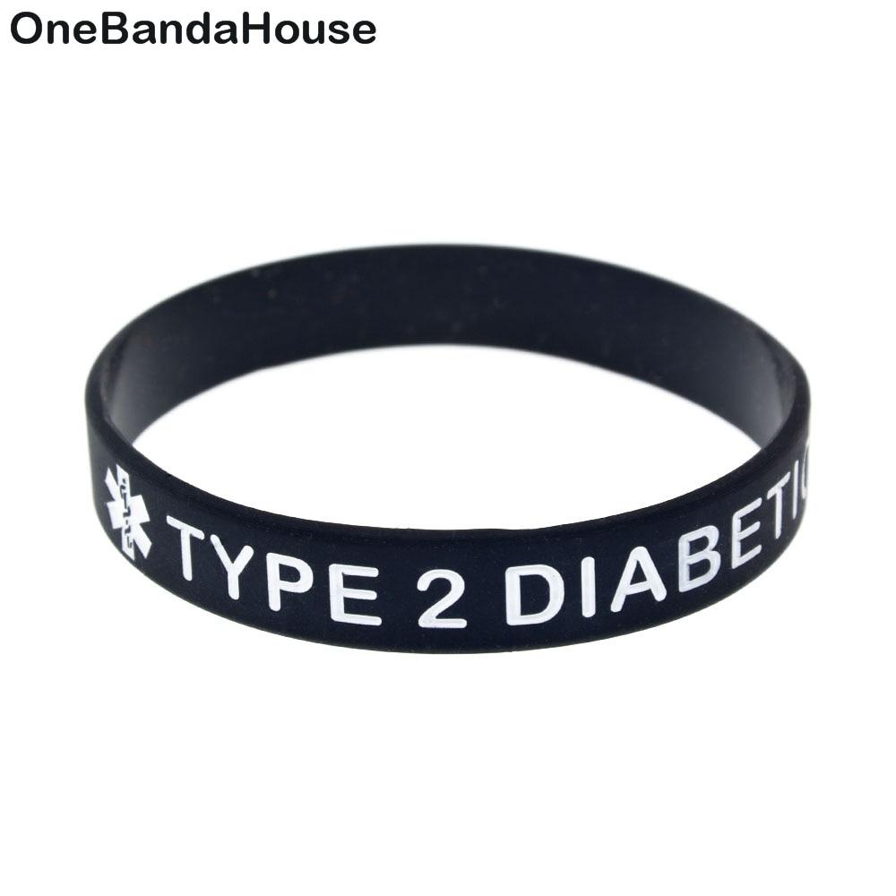 1PC Prägung Typ 2 Diabetische Silikon Armband für Tägliche Erinnerung