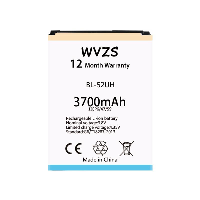 Wvzs 3700 mAh batería de la batería BL-52UH para LG espíritu H422 D280N D285 D320 D325 DUAL SIM H443 Escape 2 VS876 L65 l70 MS323 baterías