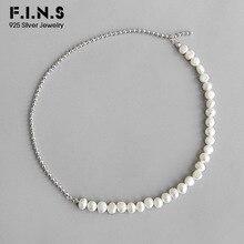 F.I.N.S kore S925 ayar gümüş kolye barok tatlısu inci dikiş boncuk zinciri kadın kolye klavikula zinciri