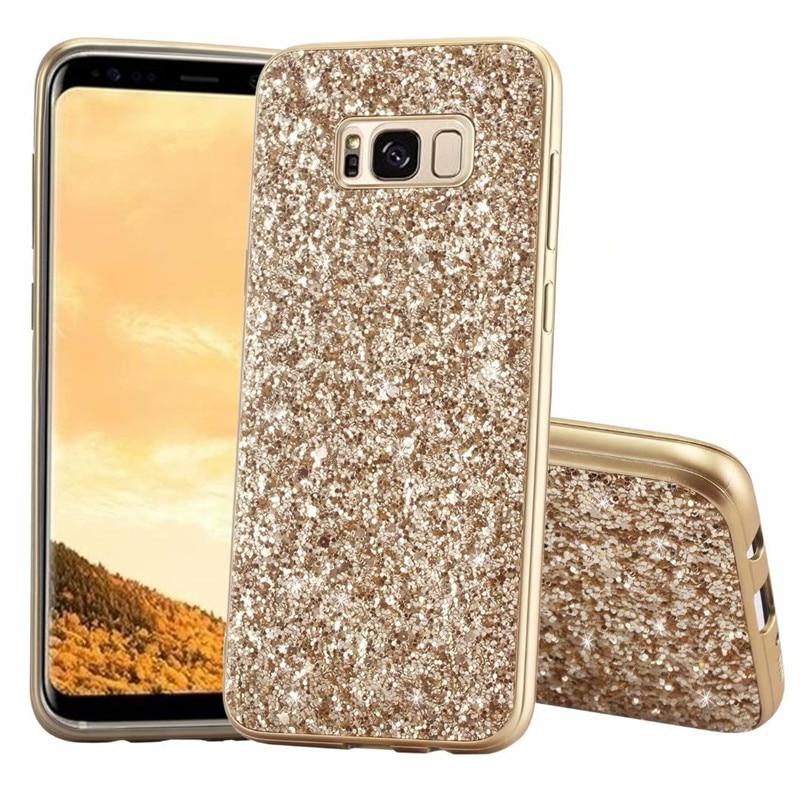 Bling Espumante Glitter Metálico Electroplate Case Capa Para Samsung Galaxy Note 10 Plus 9 8 S10E/9/8 j4/6 A6/8 Plus S7 Borda