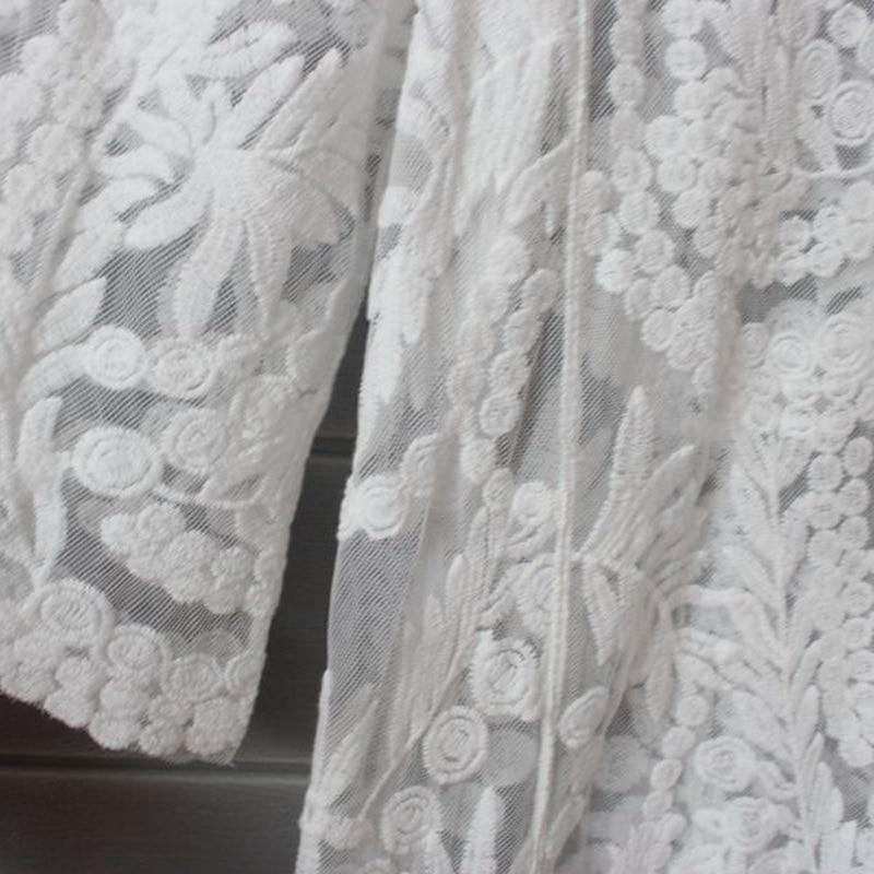Lace Cardigan 2020 Summer Kimono Cardigan Women Long Cardigans Embroidery White Shirt Korean Clothes Long Sleeve Beach Crochet
