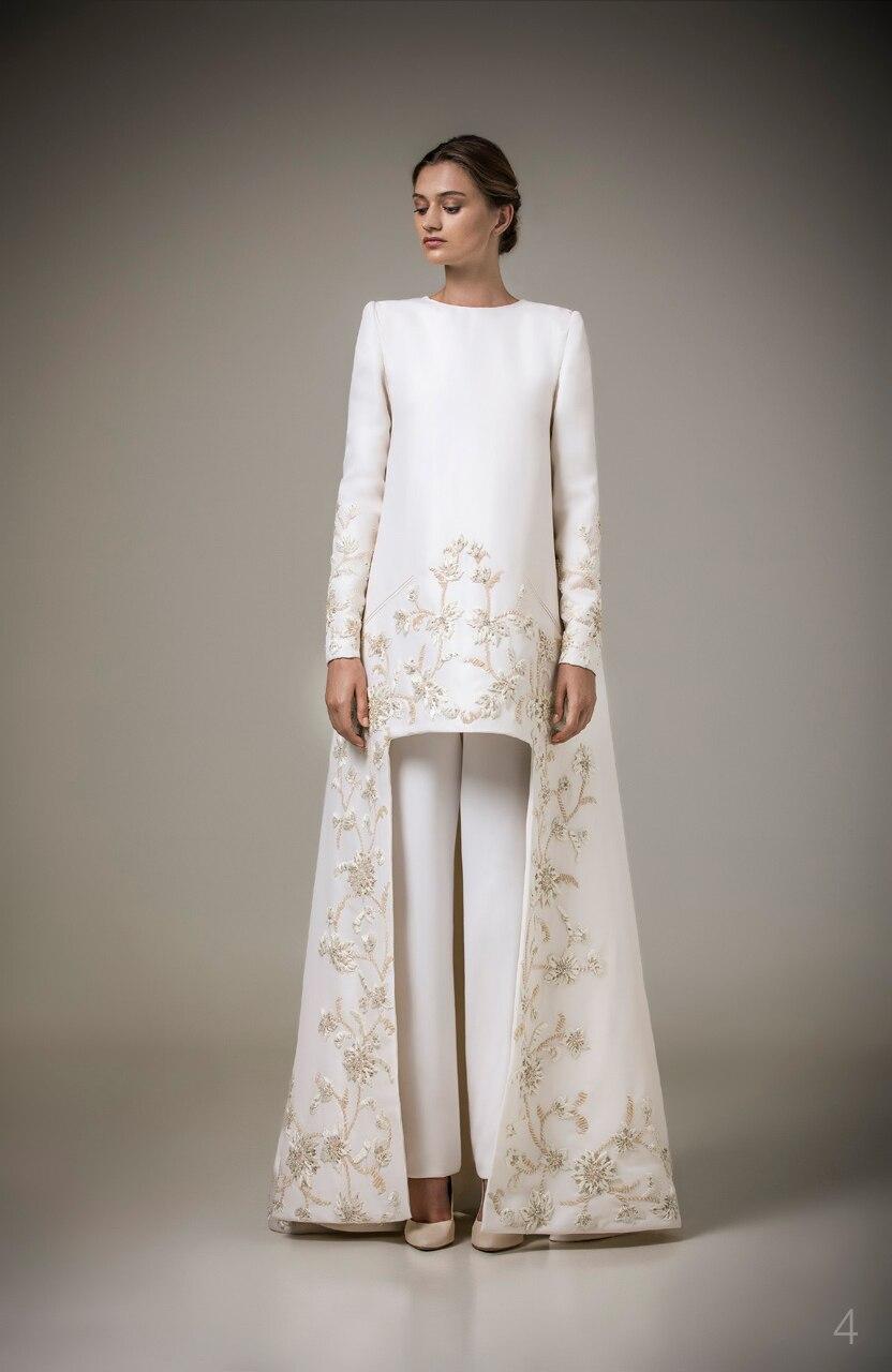 Arabic Style Long Sleeves Muslim Evening Dresses O neck Embroidery Caftan Arabic Evening Party Gowns Vestido de Festa Longo