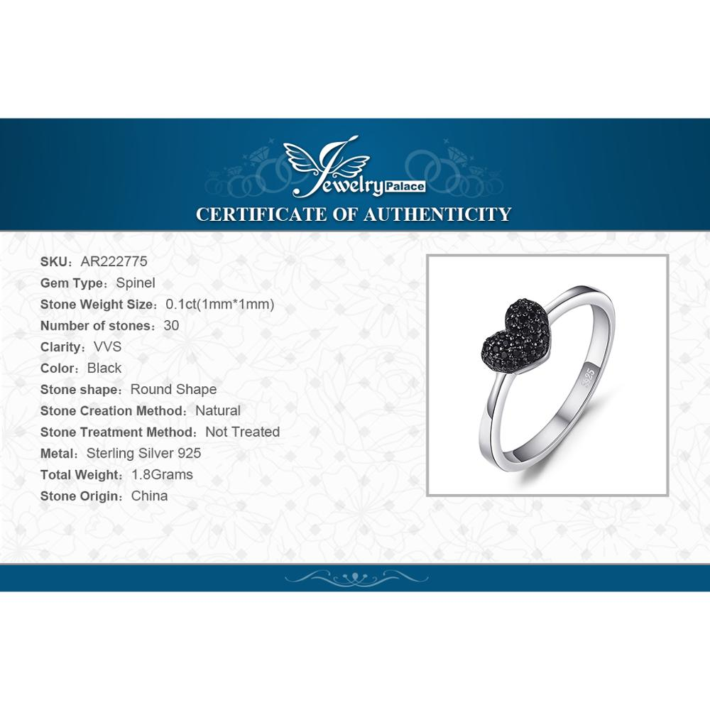 Купить с кэшбэком JewelryPalace Heart Love Ring 925 Sterling Silver Ring Girl Cute Natural Black Spinel Promise Ring Gemstones Jewelry for Women