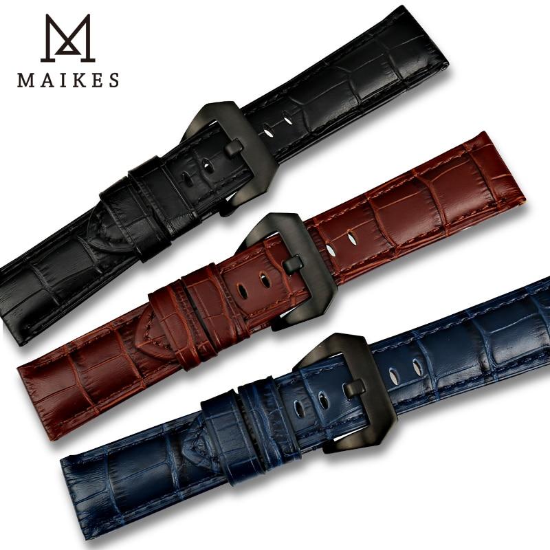 MAIKES New design 22mm 24mm 26mm watch accessories watchbands genuine leather watch band strap for Panerai watch bracelet belt