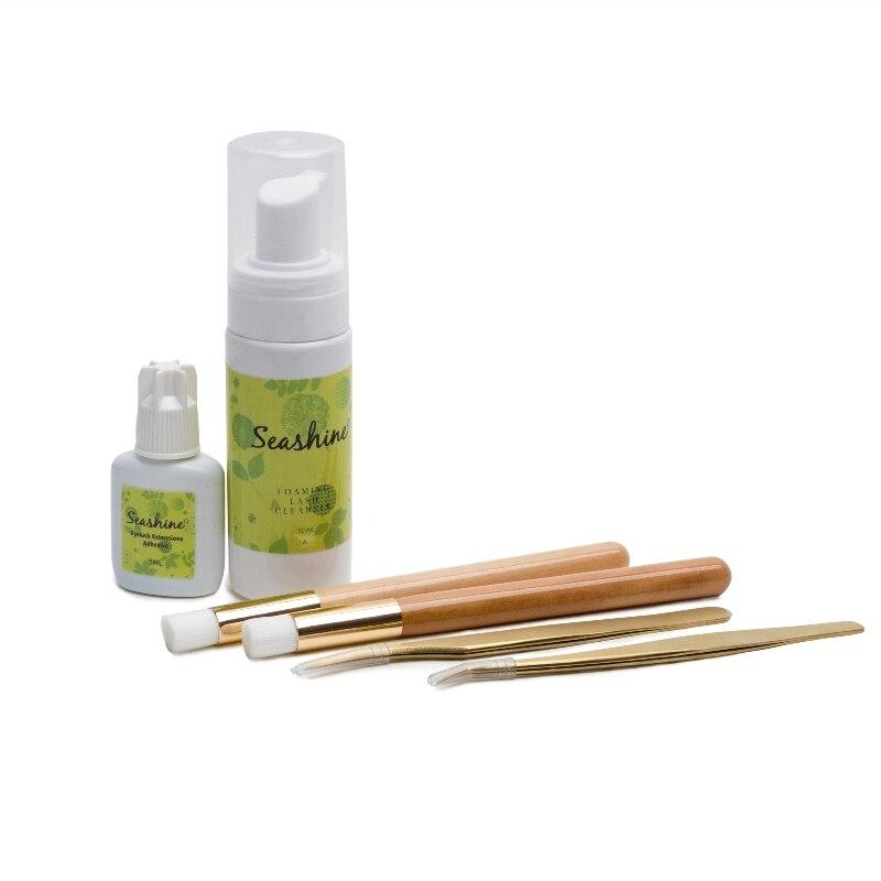 Seashine أفضل جودة الذهب ملاقط 1 زجاجات لاش فوما المطهر ملصق شعار 5 مللي لاش الغراء أدوات ماكياج فرش الشحن مجانا