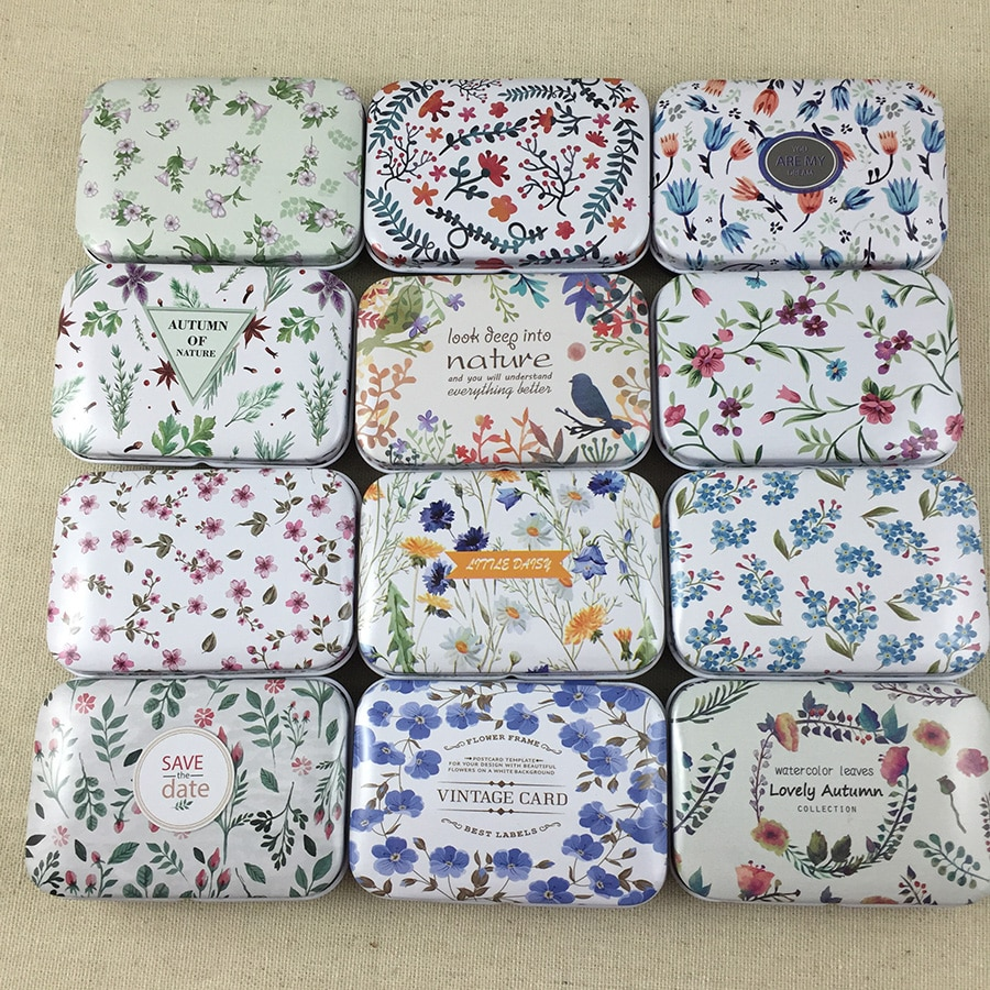 12pcs/lot Fresh Flowers  Square Shape Tin Storage Case Mini Pill Box with Lid Diy Jewerly Case Pocket Box Gft Boxes