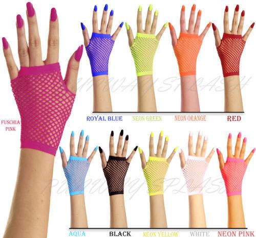 New Women Girls Mesh Gloves Short Wrist Gothic Punk Rock Costume Fancy Party Brides Mesh Fingerless Gloves