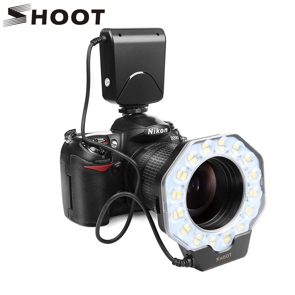 Кольцевая светодиодная вспышка для Nikon D5300 D3400 D7200 D750 D3100 Canon 1300D 6D 5D Olympus e420 Pentax K5 K50 Dslr камера