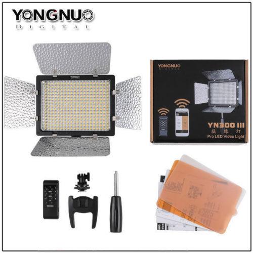 YONGNUO YN300 III YN300III YN-300 III CRI95 3200 K-5500 K luz led para vídeo con Barndoor fotográfico lámpara de panel led