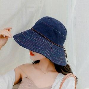 SUOGRY Women Summer Sun Hat Ladies Solid Wide Brim Hats Anti-UV Female Flat Top Fisherman Cap Fishing Hat Korea Style Bucket Hat