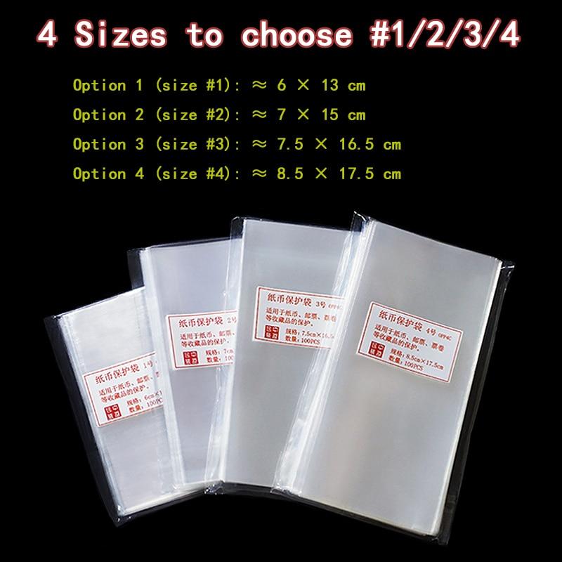 100 pcs proteger saco para o dinheiro de papel de notas coleção selo shell Mangas Titular sacos De Polímero Tamanho/1/2 /3/4 Sacos de armazenamento muito