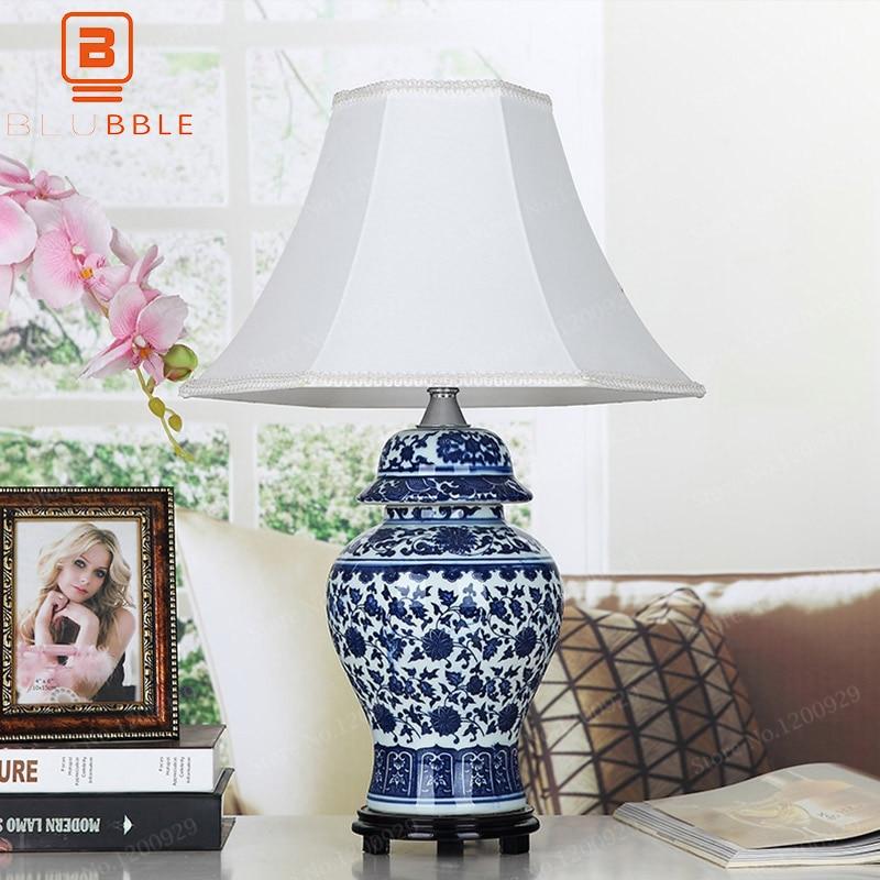 BLUBBLE-مصباح طاولة LED خزفي كلاسيكي ، مصباح بجانب السرير لغرفة النوم ، مكتب ، قماش دراسة قديم ، هدية صينية ، أزرق وأبيض