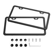 Marcos de matrícula 2 uds cubiertas de acero inoxidable para matrícula de coche diseño delgado y arandelas de tornillos tapas para coche americano Canadá