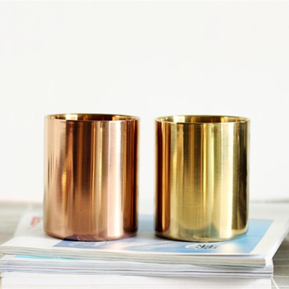 Portalápices cilíndrico de acero inoxidable oro rosa para escritorio organizador soporte multiuso portalápices suministros de decoración de oficina taza europea