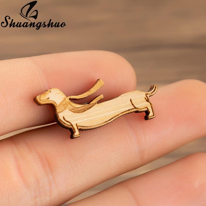 Shuangshuo Animal broche con diseño de perro pines para mujer madera Dachshund broche Pin, joyería femenina regalos de madera