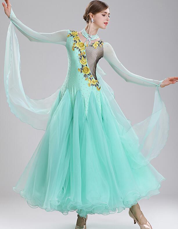 Vestido de competición tango, vestido de baile, vestido de Salón Estándar para mujer, vestidos de competición 293
