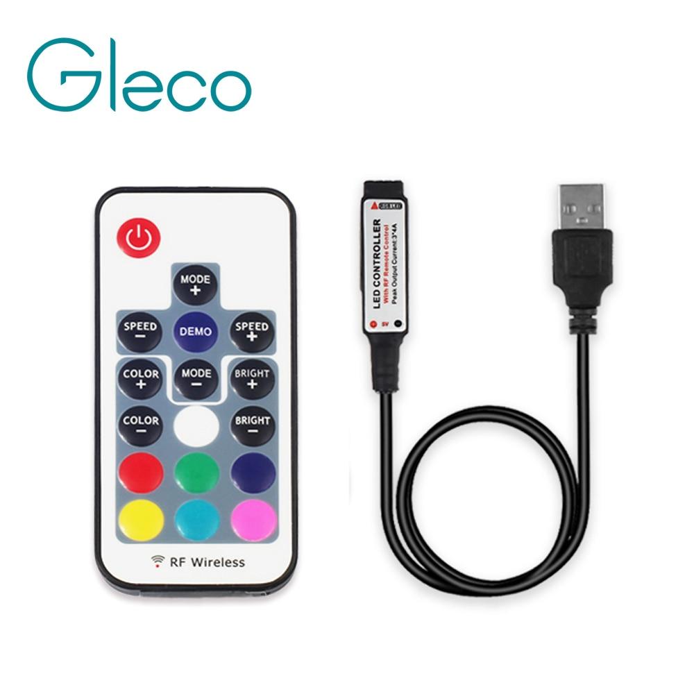 Mando a distancia 5V USB RGB 17Key RF, controlador RGB mini 3key, controlador led de batería para tira LED RGB 5050 USB