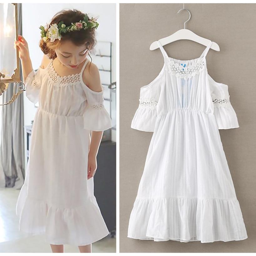 4 To 14 Years Kids & Teenager Girls 2017 Summer Off-shoulder White Pink Ruffle Beach Dress Children Princess Sleeveless Dresses