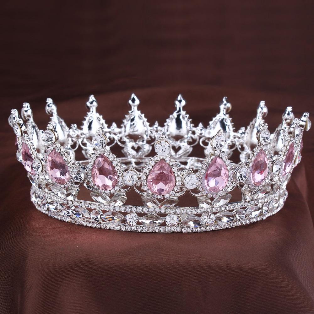 Coroa de cristal do vintage tiara rosa strass nupcial cabelo jóias casamento acessórios para o cabelo rainha príncipes pageant tiaras e coroas