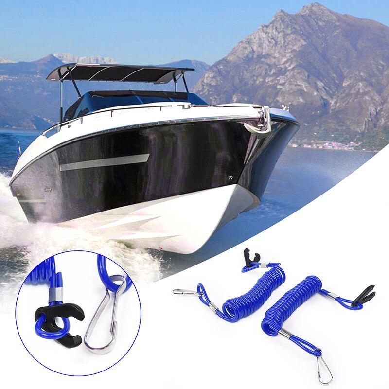 2 pces azul jet ski externo parar matar chave de segurança flutuante cordão corda universal