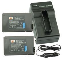 DSTE 2PCS NP-FA50 Rechargeable Battery + Travel and Car Charger for Sony DVW-700 DCR-DVD7E PC55E HC90E PC1000E PC55/W Camera