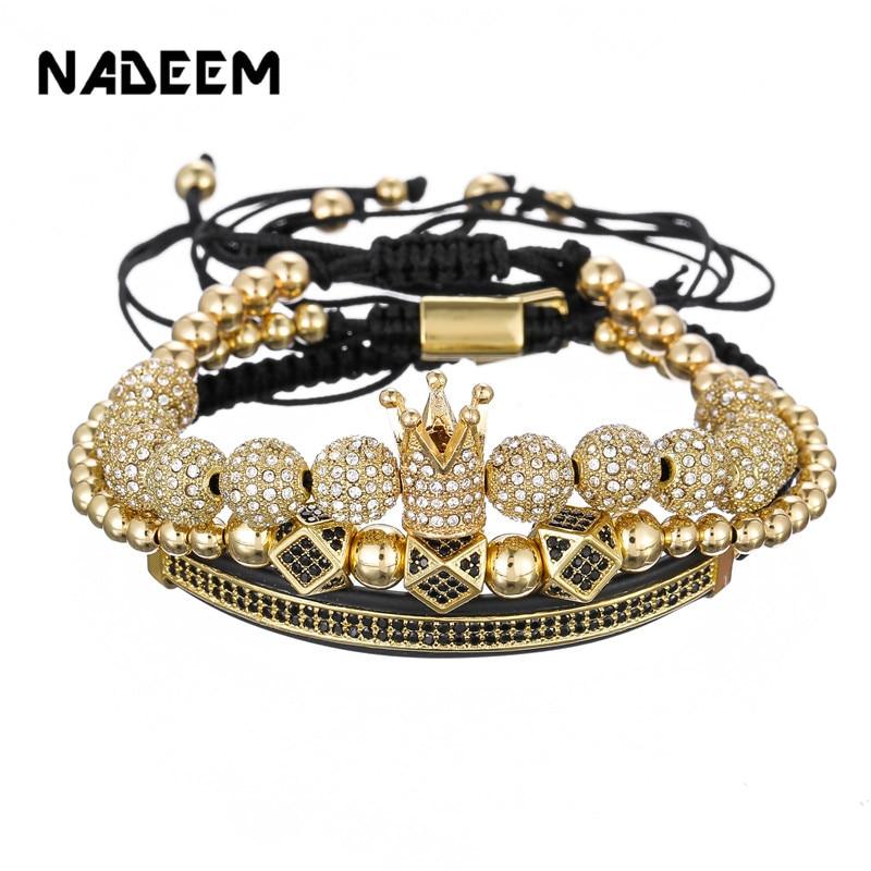 Luxo cz polígono bola coroa charme cobre grânulo macrame feito à mão masculino pulseiras definir pulseiras & pulseiras para homem jóias