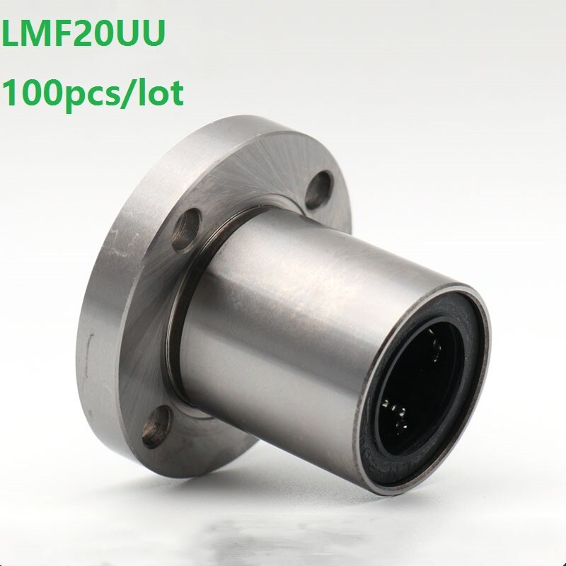 100 unids/lote LMF20UU LMF20 brida cojinete lineal brida de rodamiento lineal para eje lineal CNC impresora 3D