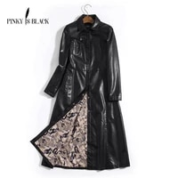 pinky is black s 5xl x long leather jacket women 2019 winter new coat female fashion solid turn down collar single breasted