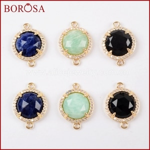 BOROSA 15PCS Mixed Micro Pave CZ Round Natural Gems Multi-kind Faceted Stones Druzy Amazonite Gold Connectors Jewelry WX972