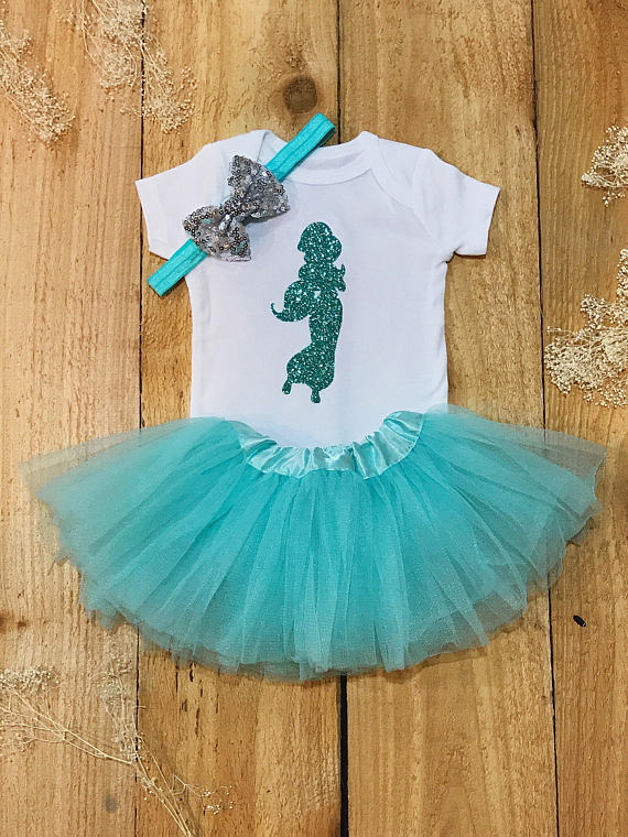 personalized Jasmine princess birthday Newborn infant bodysuit onepiece Tutu Dress romper Outfit Sets baby shower party favors