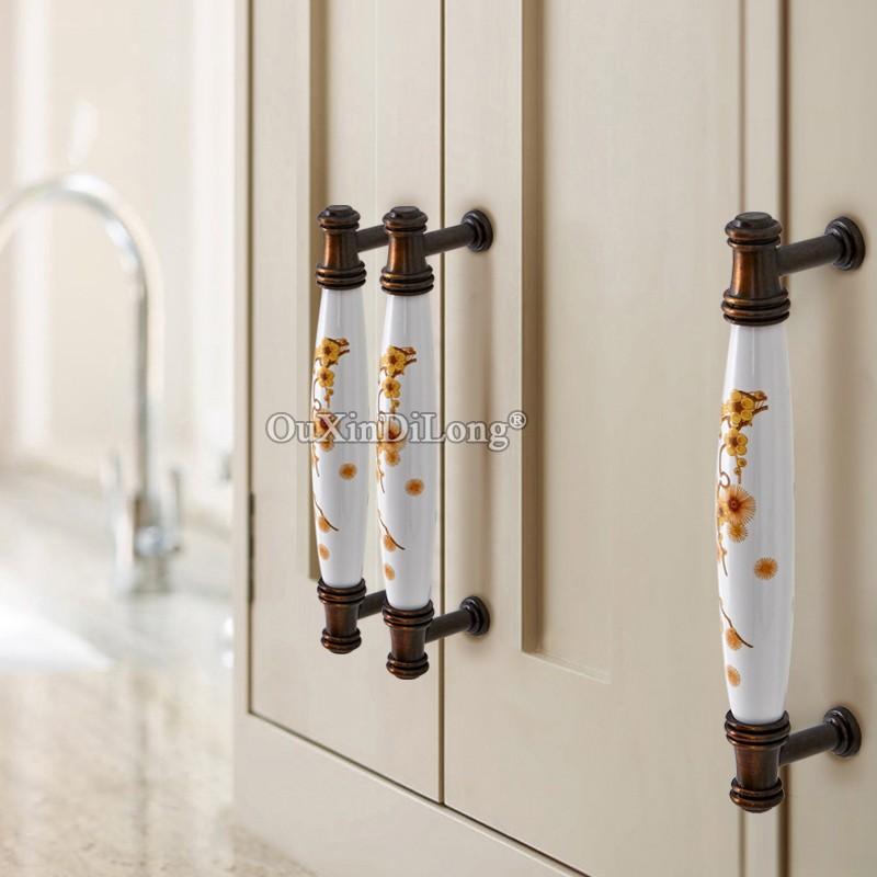 10PCS Retro European Ceramic Printing Kitchen Cabinet Door Handles Cupboard Wardrobe Drawer Wine Cabinet Pulls Handles and Knobs