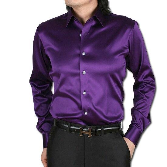 S-2XL 21 colores envío gratis 2015 camisa de manga larga de satén de seda coreana para hombres camisas de baile brillantes para hombre