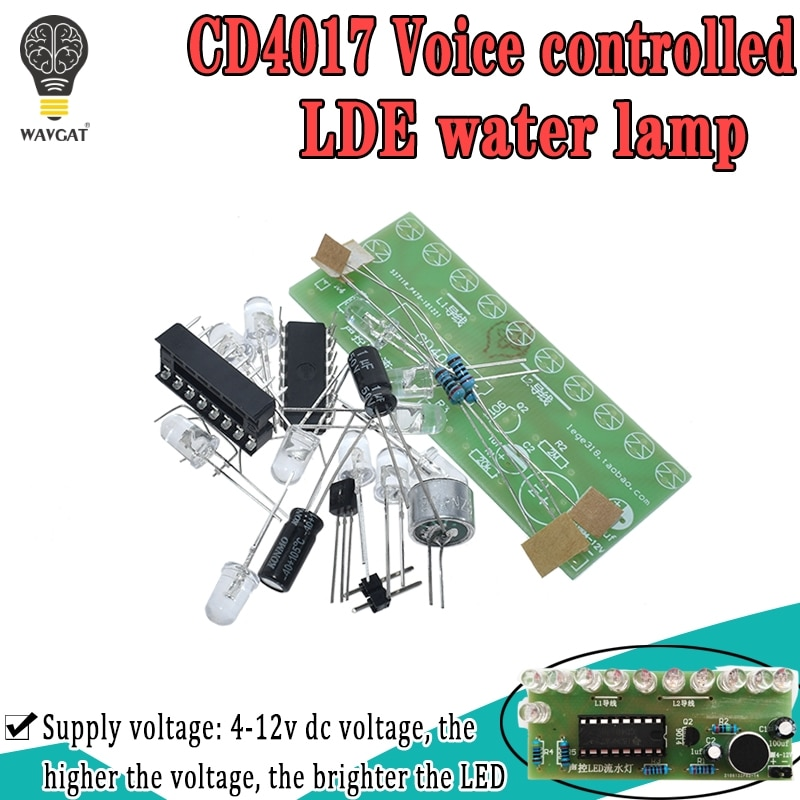Voice activated LED Water Light Kit CD4017 Lantern Control Fun Electronic Production Teaching Traini