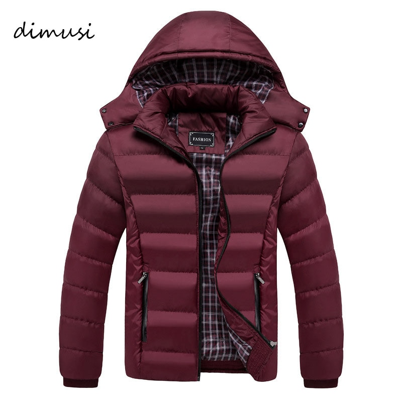 DIMUSI Men Winter Jacket Fashion Hooded Thick Thermal Down Cotton Parkas Male Casual Hoodies Windbreaker Warm Coats 5XL,TA011